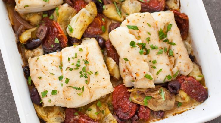 For a bold take on roast cod, this one-dish meal is inspired by the flavors of the Mediterranean.
