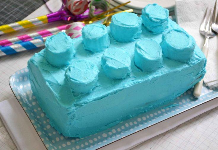 Lego cake w/ loaf pan and jumbo marshmallows