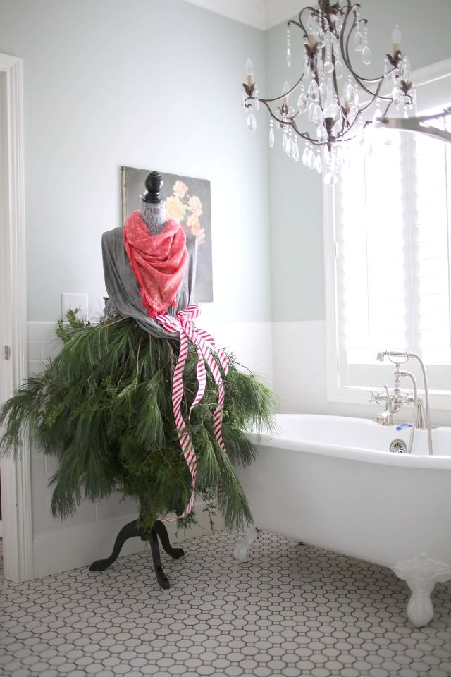 Eclectic Christmas decor with bedazzled and bedecked mannequin! via lifeingrace