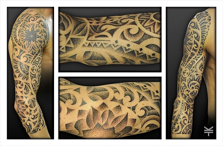 A 3 4 dotwork pointillism sleeve incorporating an old for How to blend tattoos into a sleeve