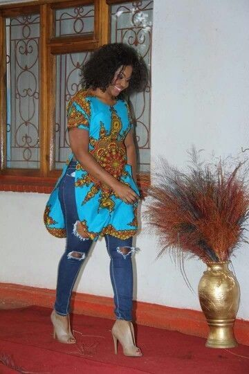 Colorful African Print Tunic Over Distressed Denim...