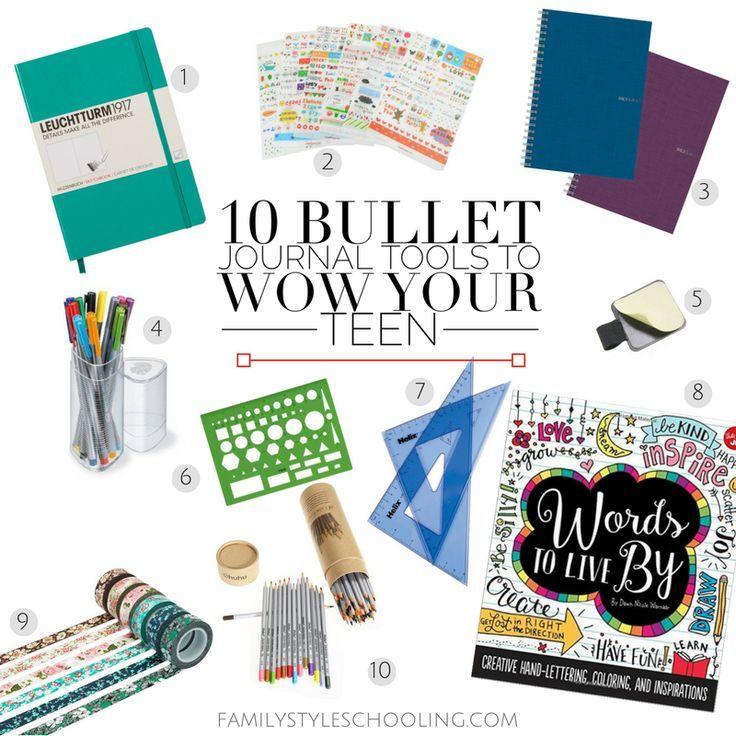 10 Bullet Journal Tools to Wow Your Teen http://familystyleschooling.com/2016/11/13/10-bullet-journal-tools/