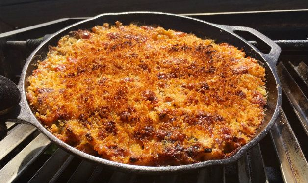 This wood-roasted macaroni and cheese features lobster, bacon, peppers, and a crispy panko top. Recipe adapted from Steven Raichlen's BBQ USA.