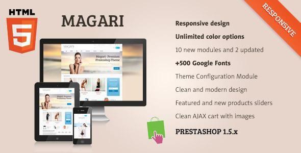 Magari is powerful, configurable and responsive HTML5 prestashop theme.