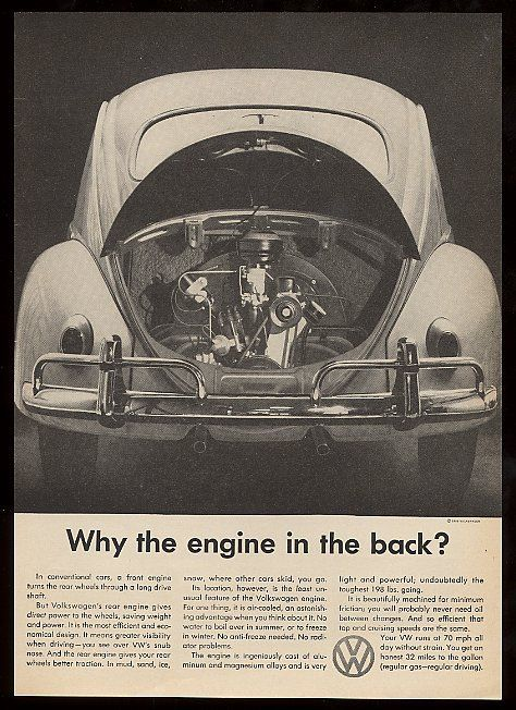 1959 VW Volkswagen Beetle Photo Why The Engine in The Back Vintage Print Ad | eBay