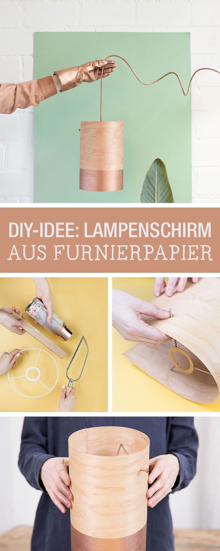 DIY-Anleitung: Lampenschirm aus Furnierpapier basteln, natürliche Wohndeko für Dein zu Hause / DIY tutorial: crafting a lampshade out of veneer paper as a natural home decor via DaWanda.com