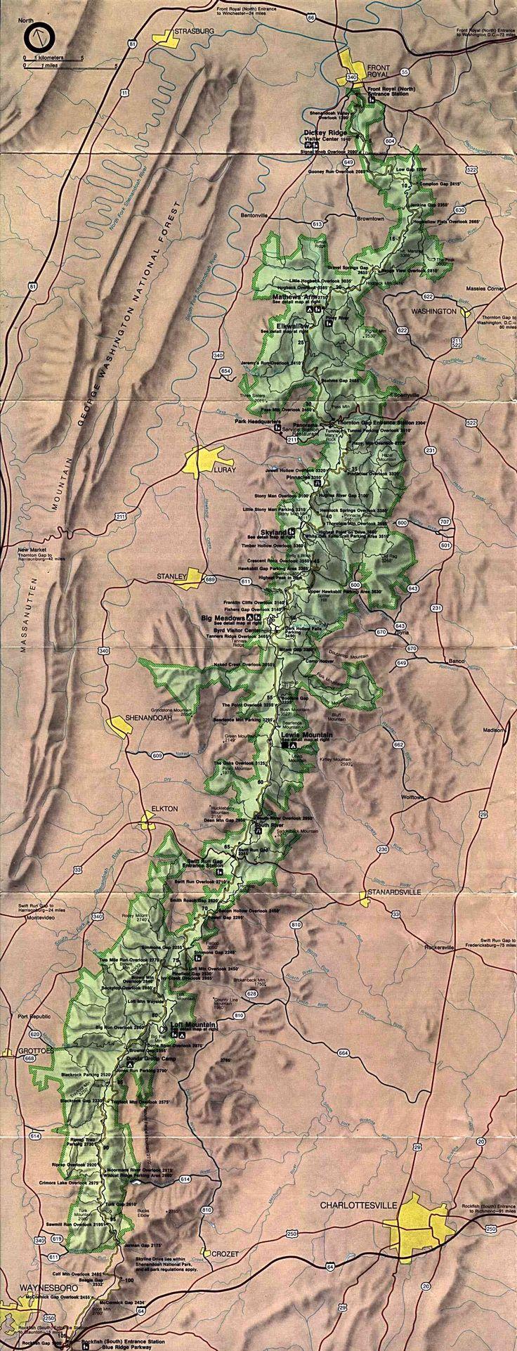Shenandoah National Park Map 398 best Cartography
