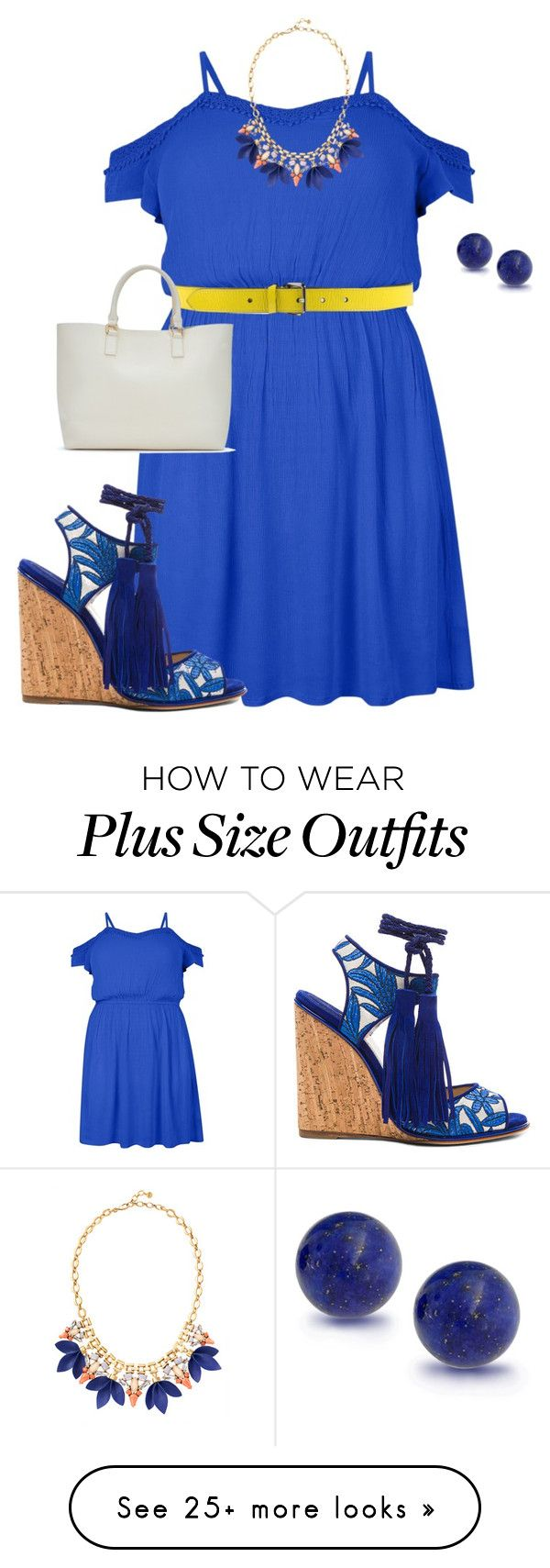 """""""my plus size summer blue styles2"""" by kristie-payne on Polyvore featuring New Look, Paul Andrew, Jil Sander Navy, ShoeDazzle, Stella & Dot and Bling Jewelry"""