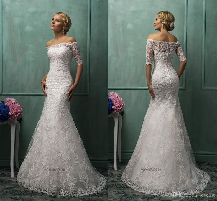 2017 Amelia Sposa Mermaid Wedding Dresses Elegant Half Sleeve Bridal Off The Shoulder