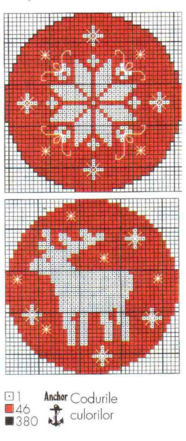 cross stitch ornaments snowflake reindeer