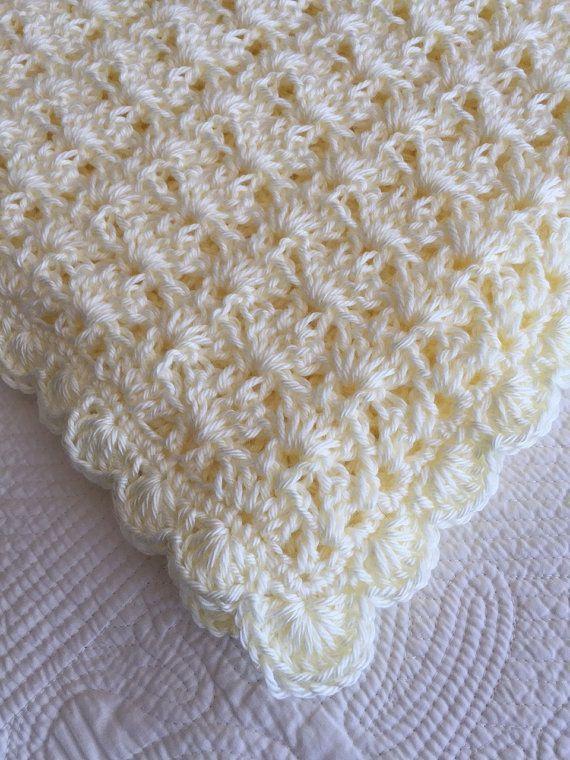 Cozy Baby Afghan In Cream Crochet Baby Blanket Baby Afghan Crochet Crochet Baby Baby Blanket Crochet