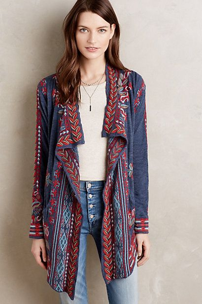 Embroidered Wrap Cardigan #anthropologie