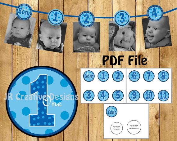 12 month Photo Birthday Banner Everything One Boy 1 year Picture Banner boy 1st birthday party decorations Blue (DIY Printable PDF File)
