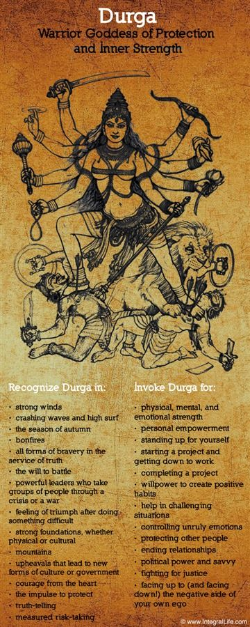 Durga is a fierce goddess in the Hindu pantheon. She pre-dates the Aryans. She is the mother, the origin, of other gods such as Ganesh, Kali, Saraswati & Chinnamasta. She was mistakenly referred to in another post as a demi-god in a branch of Hinduism. Durga is no one's half goddess or lesser goddess. She is a main goddess, a force to be reckoned with, and petitioned when one needs invincibility on one's side because that is how she is known: One who cannot be defeated.