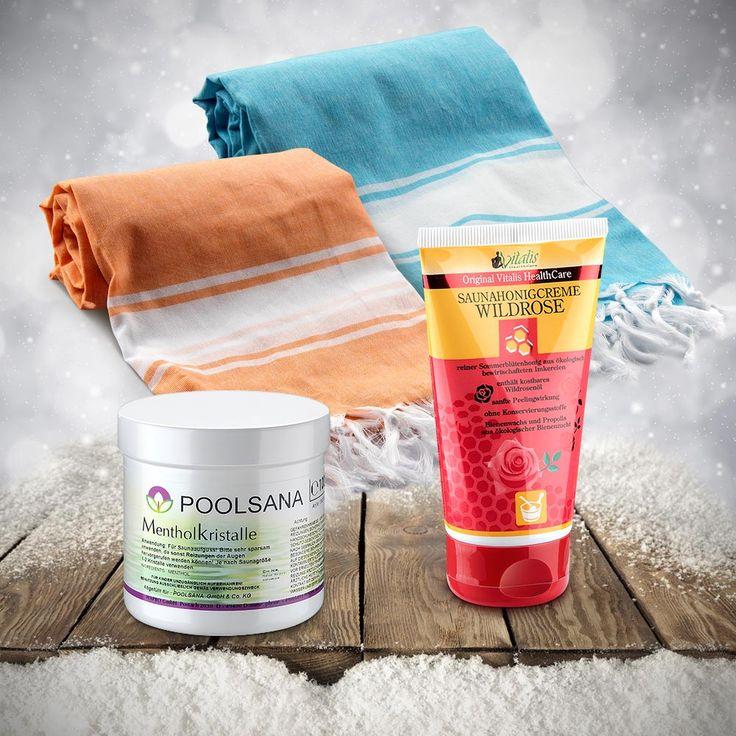 """Wellness-Geschenkset zu Weihnachten für Paare: Vielseitige Partner-Pestemaltücher mit Premium Honigcreme """"Wildrose"""" und Mentholkristalle für den trockenen Sauna-Aufguss. #weihnachten #sauna #wellness #geschenkidee #geschenktipp #weihnachtsgeschenk"""