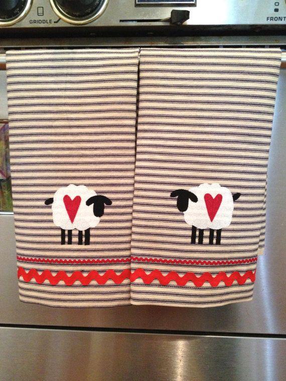 Primitive Kitchen Towels Sheep Towels Blue by primsandproper