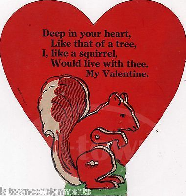#quotes & #poems often turn out unexpected notions . . old valentines poems | CREEPY #humor CUTE SQUIRREL POEM VINTAGE GRAPHIC ART VALENTINE'S DAY