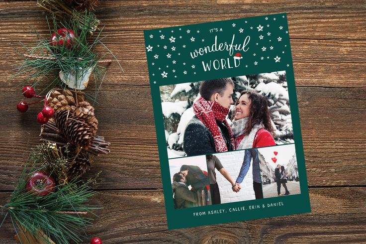 4 Photo Christmas Card, Family Collage Holiday Card, Family Christmas Card, Printable Card, Custom Photo Card, It's a Wonderful World Card by yellowbellyproject on Etsy
