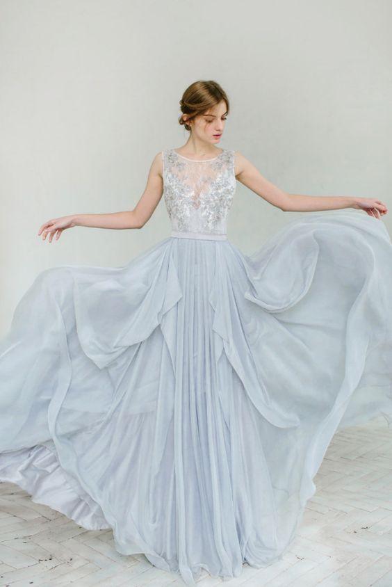 Blue Bead Embroidered Illusion Bodice Wedding Dress