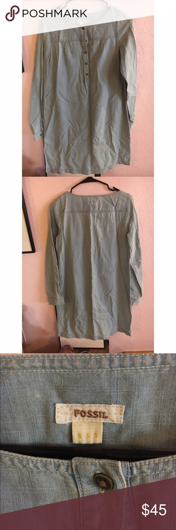 Fossil chambray shirt dress Worn once. Perfect condition. Knee length chambray. Fossil Dresses
