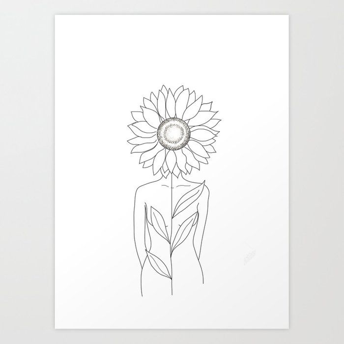 Minimalistic Line Art of Woman with Sunflower Art Print by nadja1 | Society6 – Tati West