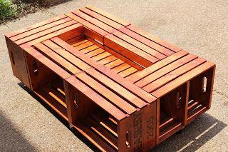 6 caisses ... 1 table de salon avec pourquoi pas 1 jardiniere au centre