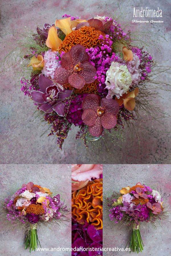 Ramo de novia con una combinación de color arriesgada; granate, fucsia, rosa, naranja...