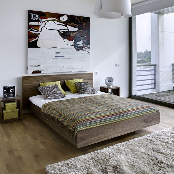 Float Contemporary Walnut Platform Bed