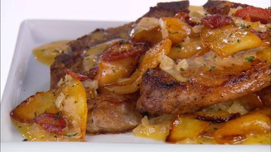 pork chops with apples and pancetta....Such an awesome sauce and very tender porkchops!  Delicious!