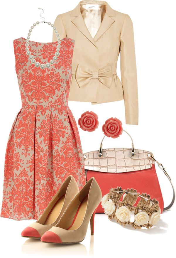 """Color Duo - Coral n' Cream"" by stylesbyjoey ❤ liked on Polyvore"