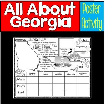 Georgia...All about Georgia's regions and symbols: Let your students show what they have learned about Georgia by using this 8.5 x 11 poster (landscape) that focuses on topics related to the state of Georgia. This poster will look great hanging outside your