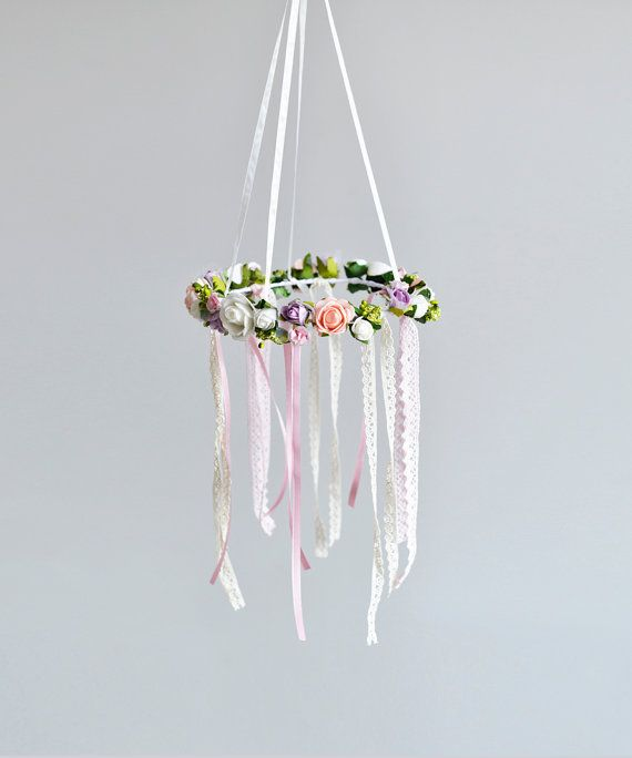 Baby Mobile Baby Crib Mobile Flower Chandelier by FlowerHeadpiece
