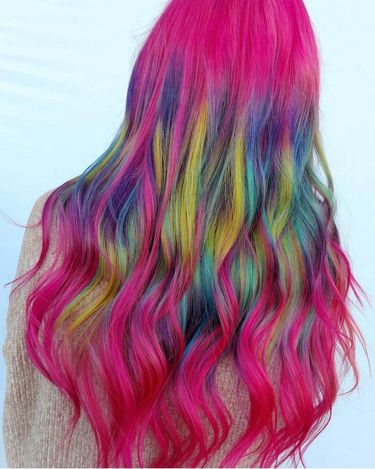 @adlydesign is the artist... Pulp Riot is the paint. #pulpriothair #hair #haircolor #rainbowhair #hairstyle #beauty