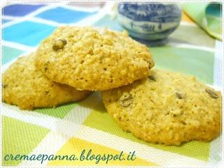 crema e panna: Biscotti integrali con avena e gocce di cioccolato