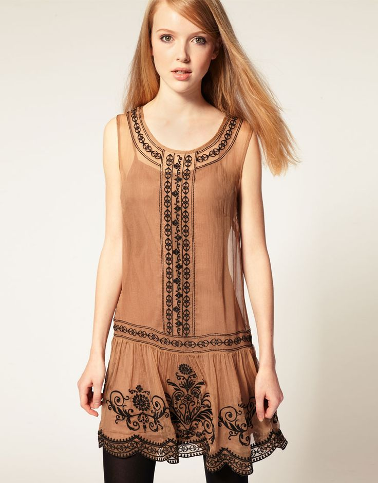 WORLD FASHION COLLECTION: Darling Embroidered Drop Waist Dress
