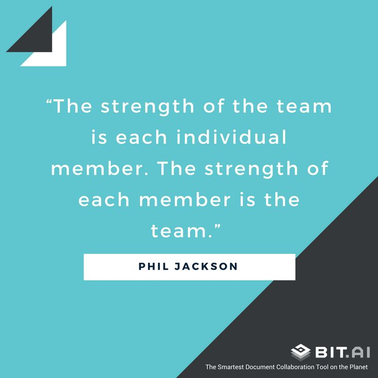 """The strength of the team is each individual member. The strength of each member is the team."" – Phil Jackson  #teamwork #collaboration #quotes #inspiration #success #motivation  https://blog.bit.ai/collaboration-quotes/"