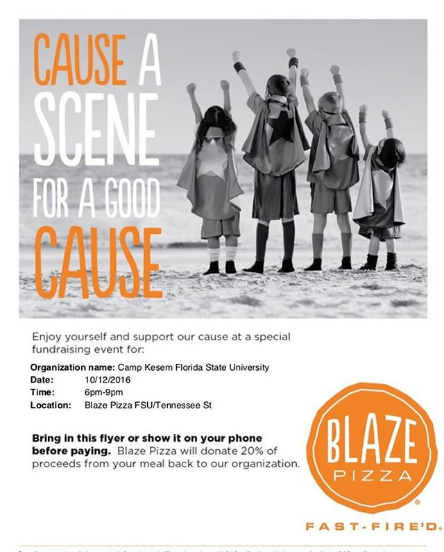 Trying to balance your craving for pizza with your desire to help children? GREAT NEWS! Blaze Pizza has agreed to donate 20% of their proceeds to CK FSU and we hope you'll come out and show your support this Wednesday (10/12) from 6-9 pm!! (Don't forget to show them our flyer at the register so they know you're with us!) 🍕
