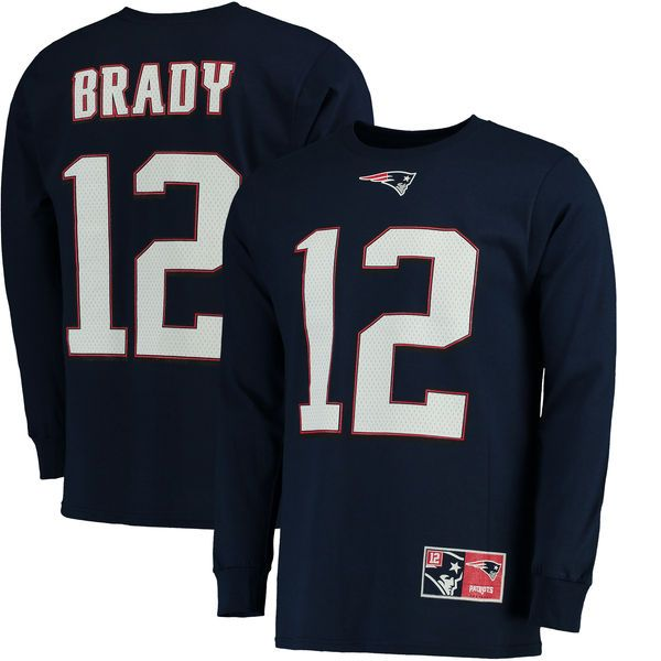 Tom Brady New England Patriots Majestic Big & Tall Eligible Receiver Name & Number Long Sleeve T-Shirt - Navy - $39.99