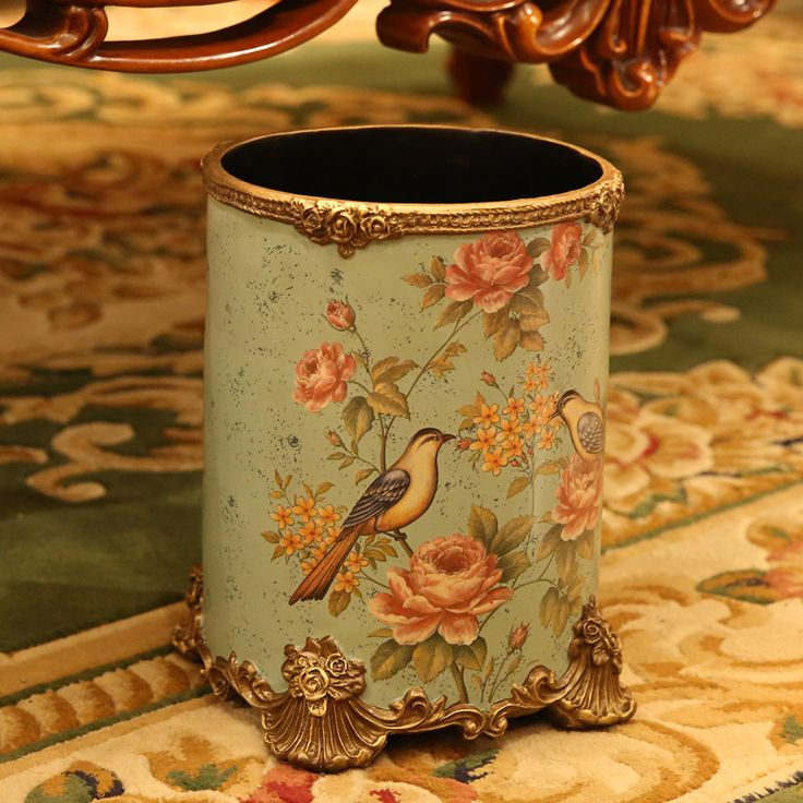 Large European style living room garbage cans domestic decorative trash cans American trash resin paint without cover