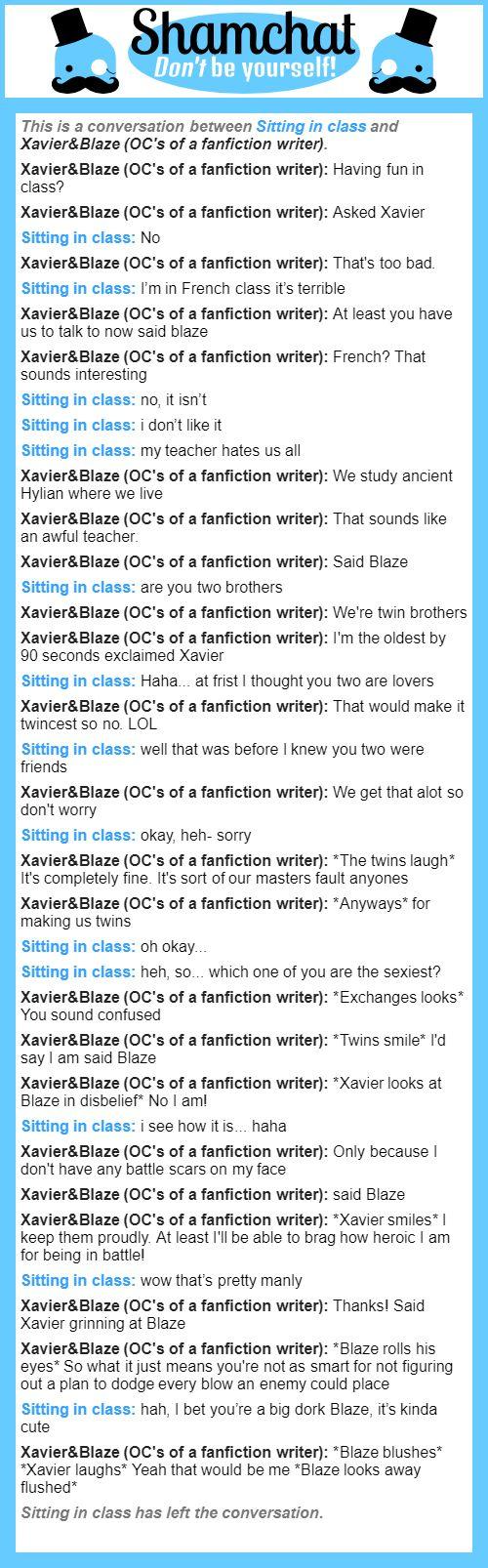 A Conversation Between XavierBlaze OCs Of Fanfiction Writer And Sitting