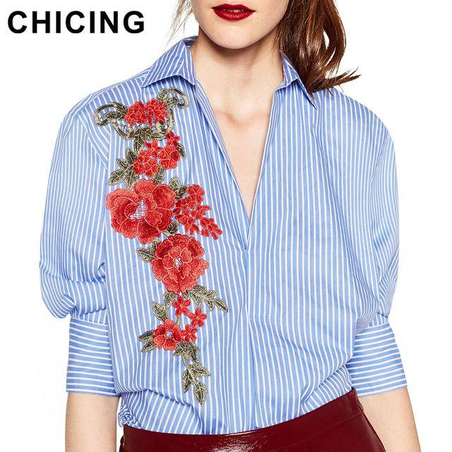 Chicing mujeres rayadas linterna mangas medias mangas bordado blusa gira el collar abajo camisa de vestir blusa feminino b1609104