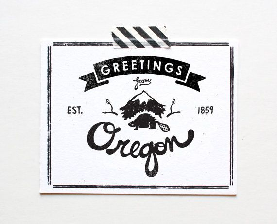 State of Oregon Postcard Screenprinted by ThePaperCub on Etsy, $4.00