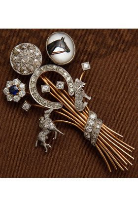 Vintage equestrian pin... for the hunt ball!