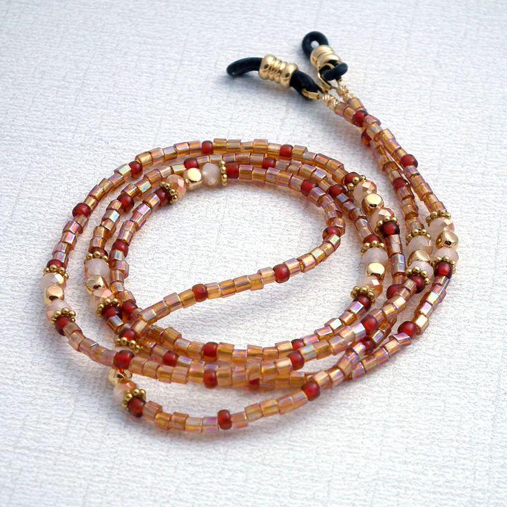 Golden Glass Seed Bead Eyeglass Chain - Basic Reading Glasses Holder for Seamstress, Beader, Knitter