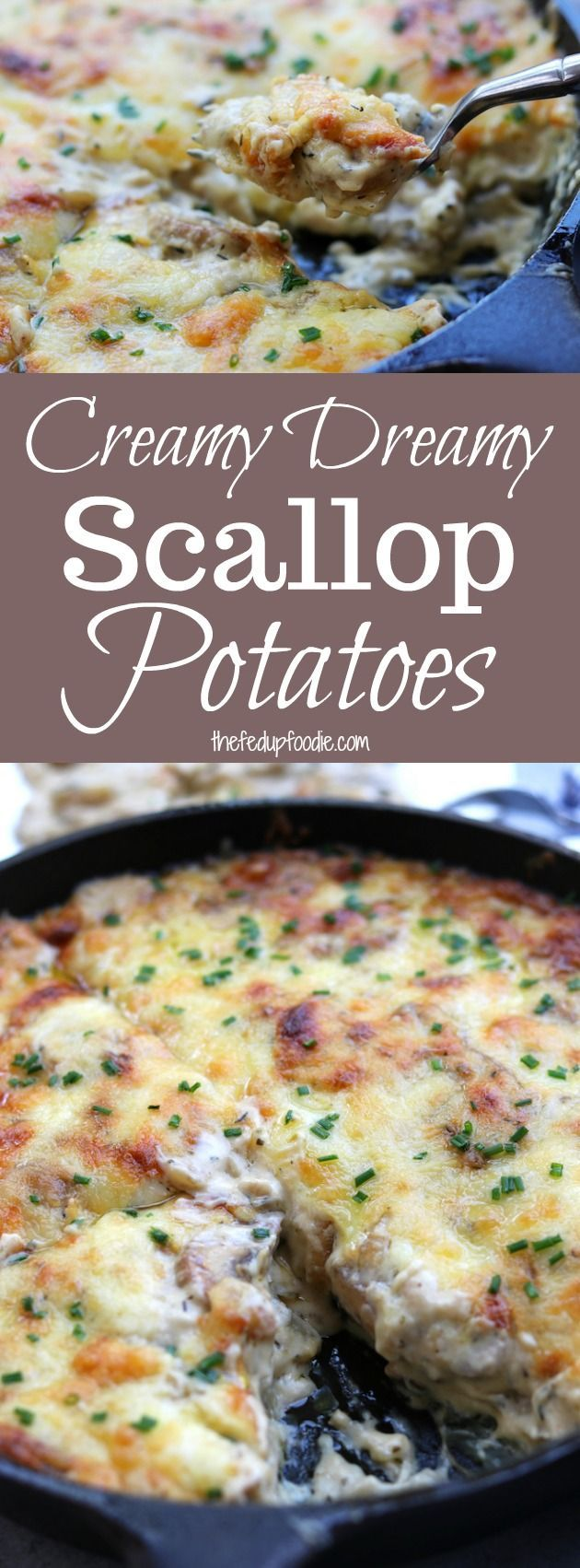 Made from scratch, Creamy Dreamy Scallop Potatoes recipe is the ultimate Holiday side dish. Full of comfort and oozing with a cheesy herbed mushroom cream sauce, your taste buds with be delighted. #holiday #sidedish #comfortfood https://www.thefedupfoodie.com