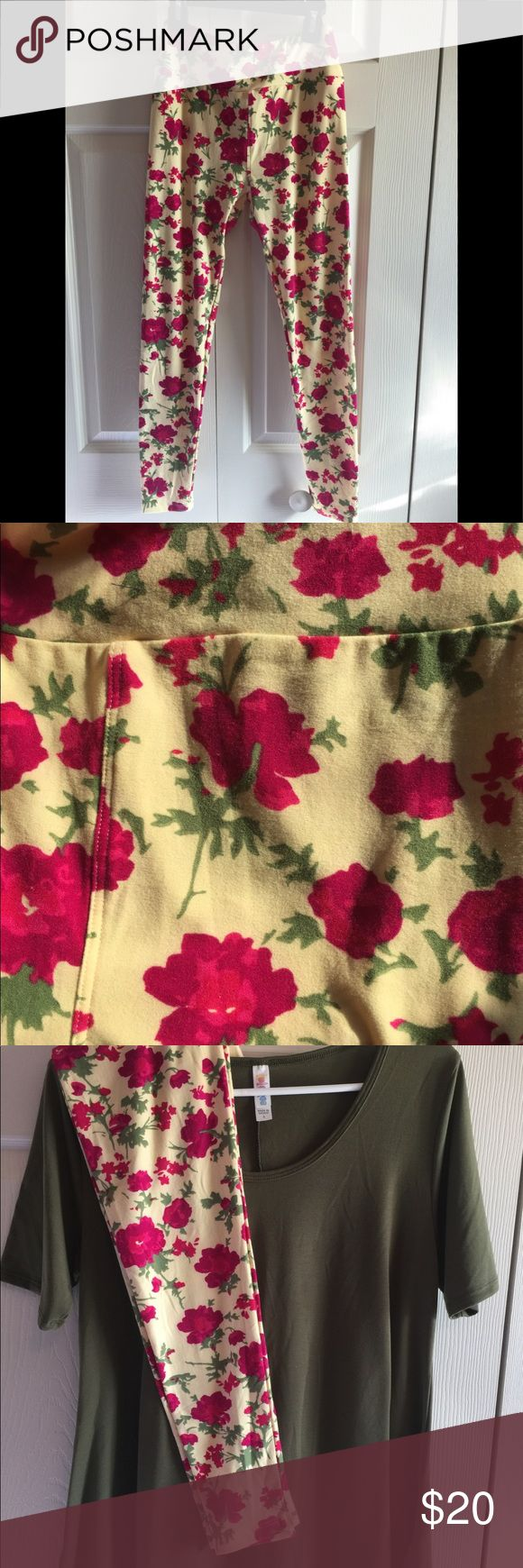 LuLaRoe leggings floral size OS LuLaRoe leggings. Size OS. Excellent used Condition. Yellow floral design. LuLaRoe Pants Leggings