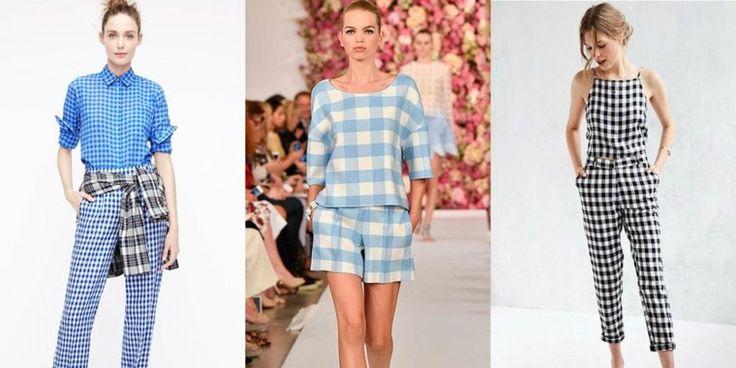 Damenbekleidung, die Mode der karierten Kleidungsstücke