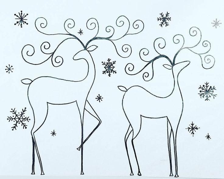 Free Printable Coloring Sheet Reindeer Traceable #angelafineart #CHRISTMAS