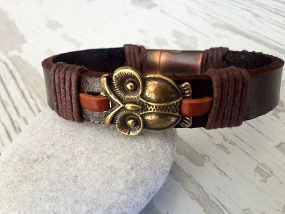 Handmade Bracelet  Spiritual Bronze Owl Leather Mens by tovvanda