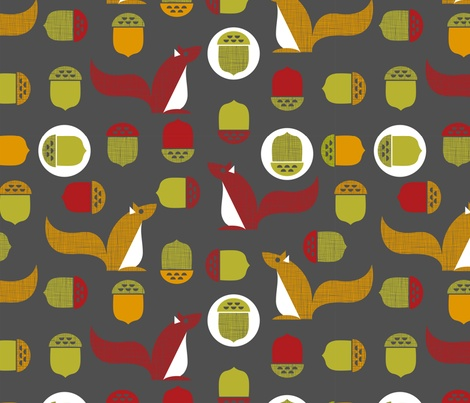 Mod squirrel fabric by cjldesigns on Spoonflower - custom fabric